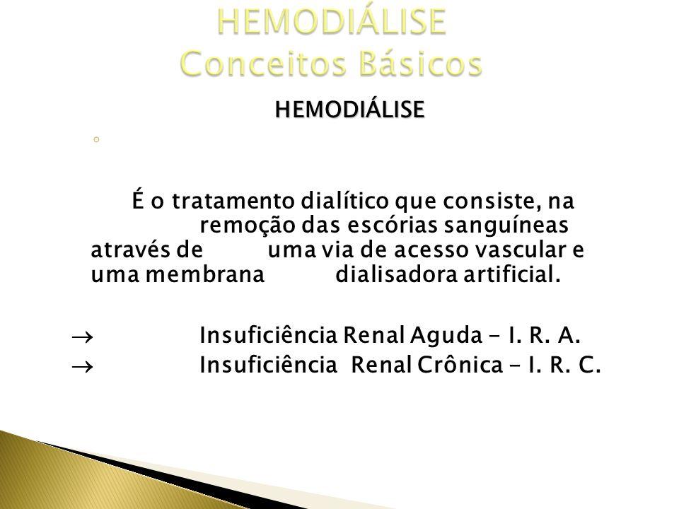 HEMODIÁLISE CONCEITO É o tratamento dialítico que consiste, na remoção das escórias sanguíneas através de uma via de acesso vascular e uma membrana di