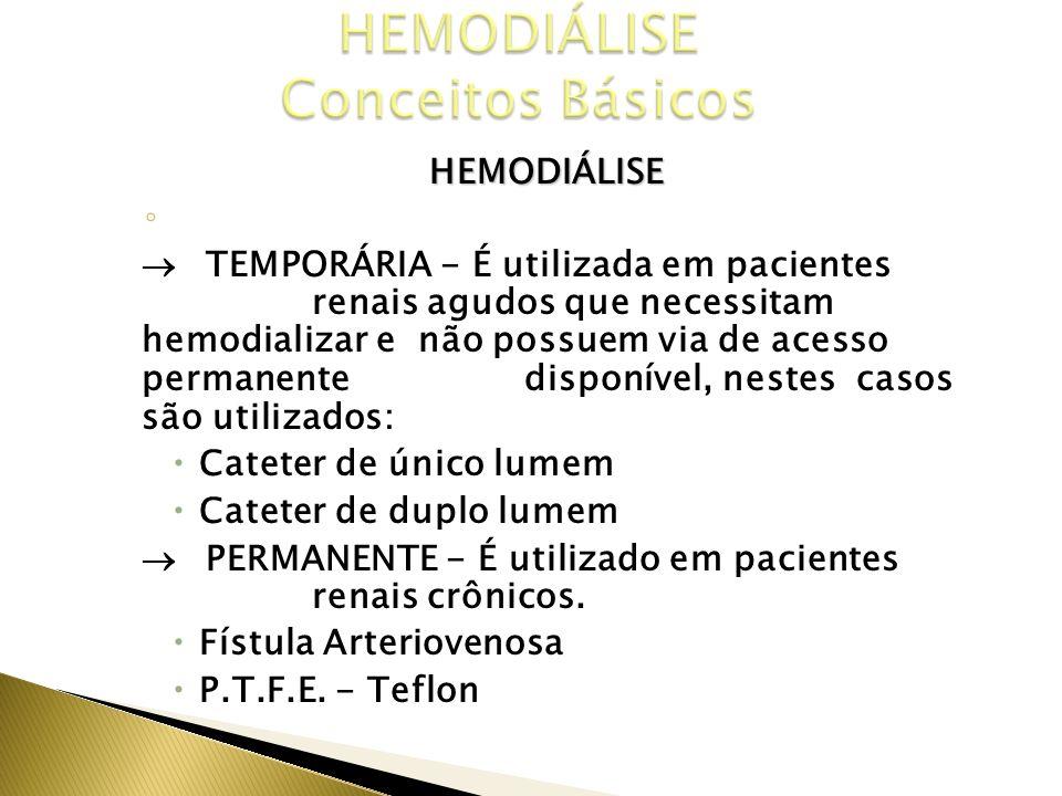HEMODIÁLISE VIAS DE ACESSO TEMPORÁRIA - É utilizada em pacientes renais agudos que necessitam hemodializar e não possuem via de acesso permanente disp