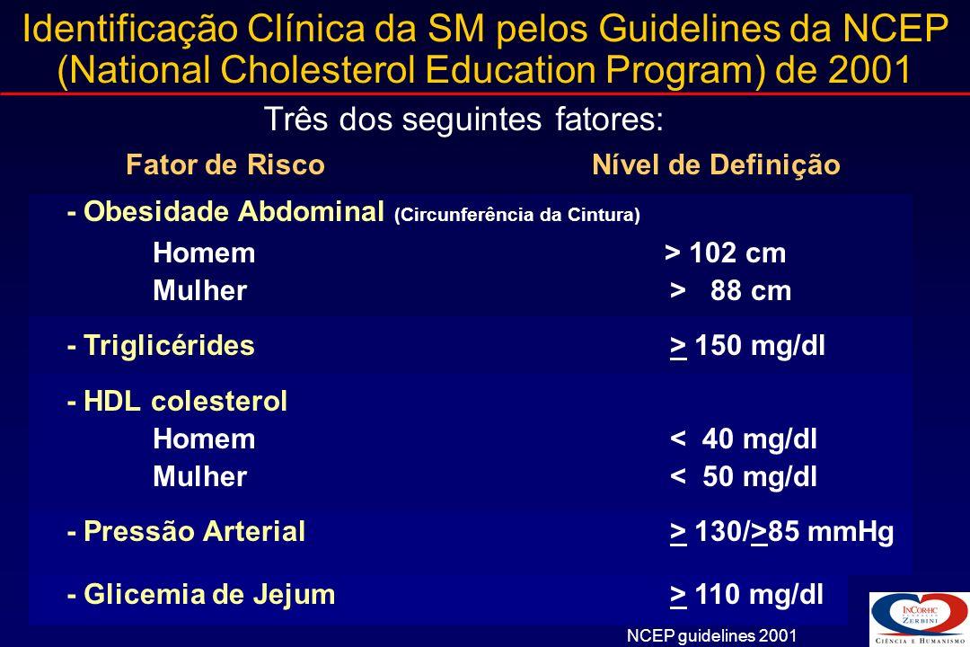 Resistência à Insulina: Fator Central da SM Resistência à Insulina Obesidade Hipertensão Arterial Fibrinólise Hiperglicemia Disfunção endotelial Doença Macrovascular Intolerância à Glicose Adaptado de McFarlane SI, et al.