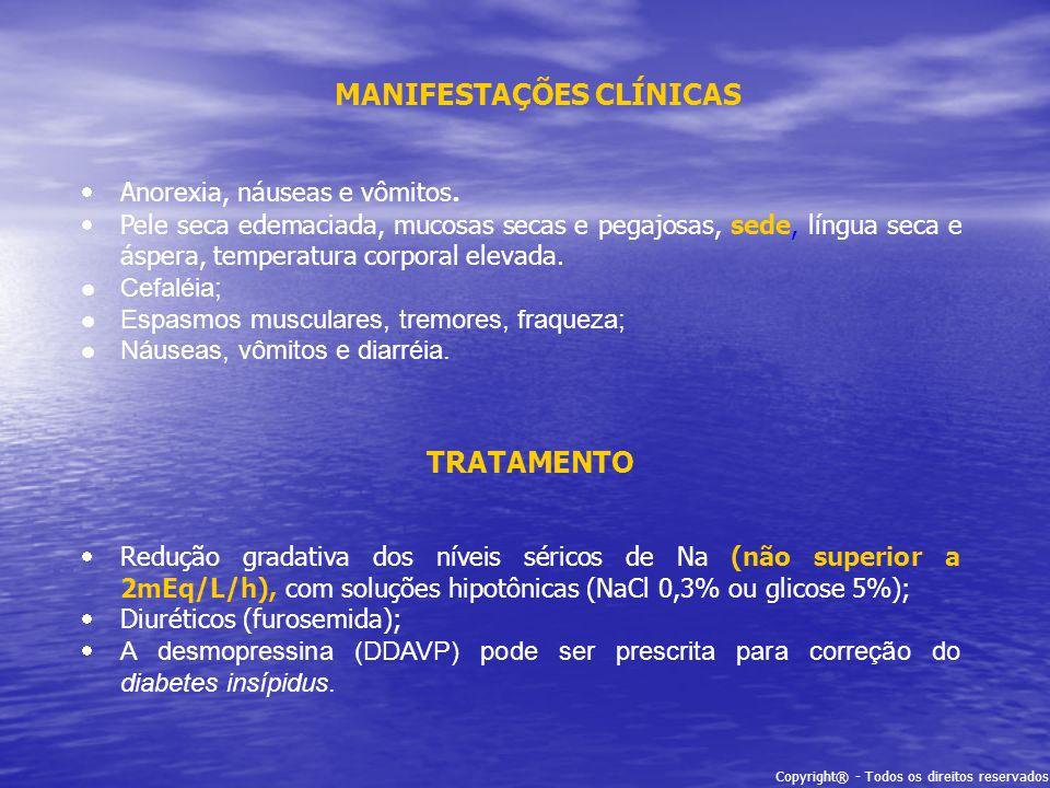 Copyright® - Todos os direitos reservados MANIFESTAÇÕES CLÍNICAS Anorexia, náuseas e vômitos. Pele seca edemaciada, mucosas secas e pegajosas, sede, l