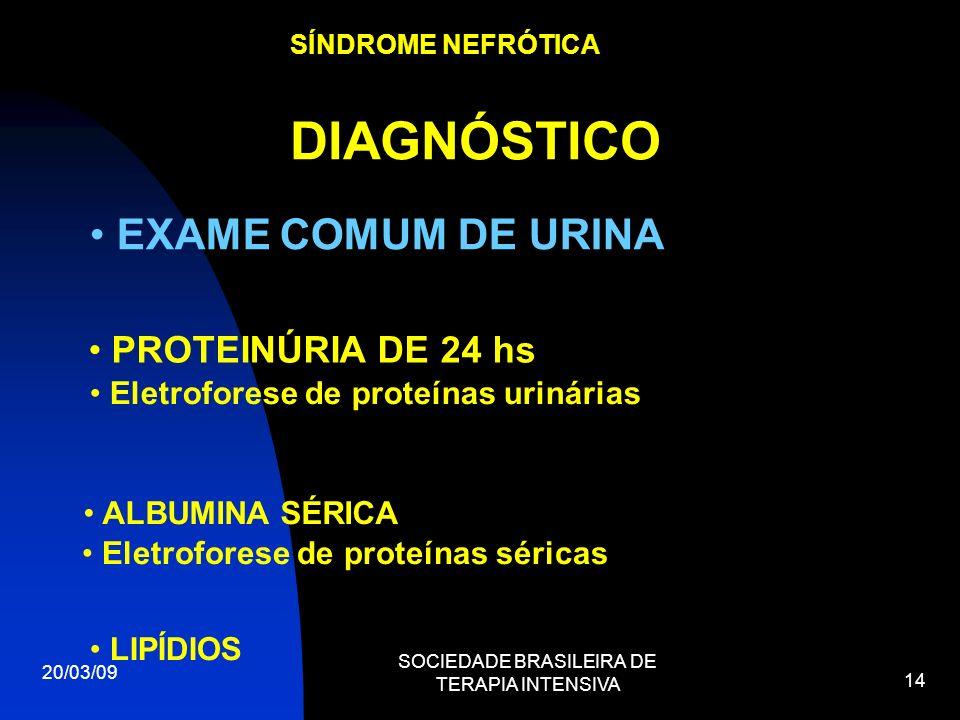 20/03/09 SOCIEDADE BRASILEIRA DE TERAPIA INTENSIVA 14 SÍNDROME NEFRÓTICA DIAGNÓSTICO EXAME COMUM DE URINA PROTEINÚRIA DE 24 hs Eletroforese de proteín