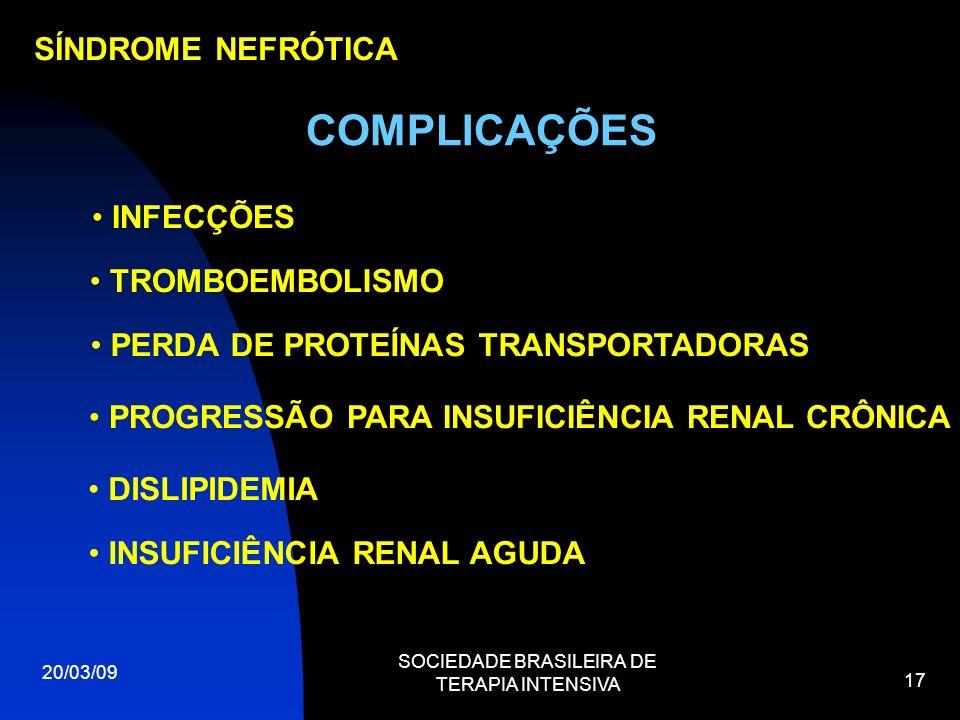 20/03/09 SOCIEDADE BRASILEIRA DE TERAPIA INTENSIVA 17 SÍNDROME NEFRÓTICA COMPLICAÇÕES INFECÇÕES TROMBOEMBOLISMO PERDA DE PROTEÍNAS TRANSPORTADORAS PRO