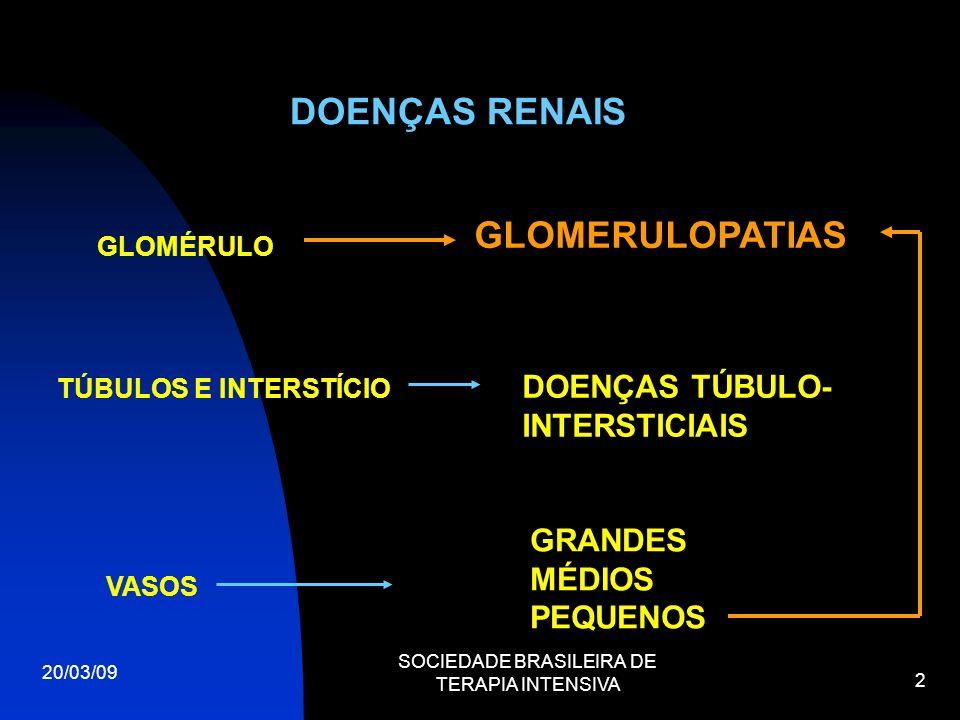 20/03/09 SOCIEDADE BRASILEIRA DE TERAPIA INTENSIVA 2 DOENÇAS RENAIS GLOMÉRULO GLOMERULOPATIAS GRANDES MÉDIOS PEQUENOS VASOS TÚBULOS E INTERSTÍCIO DOEN
