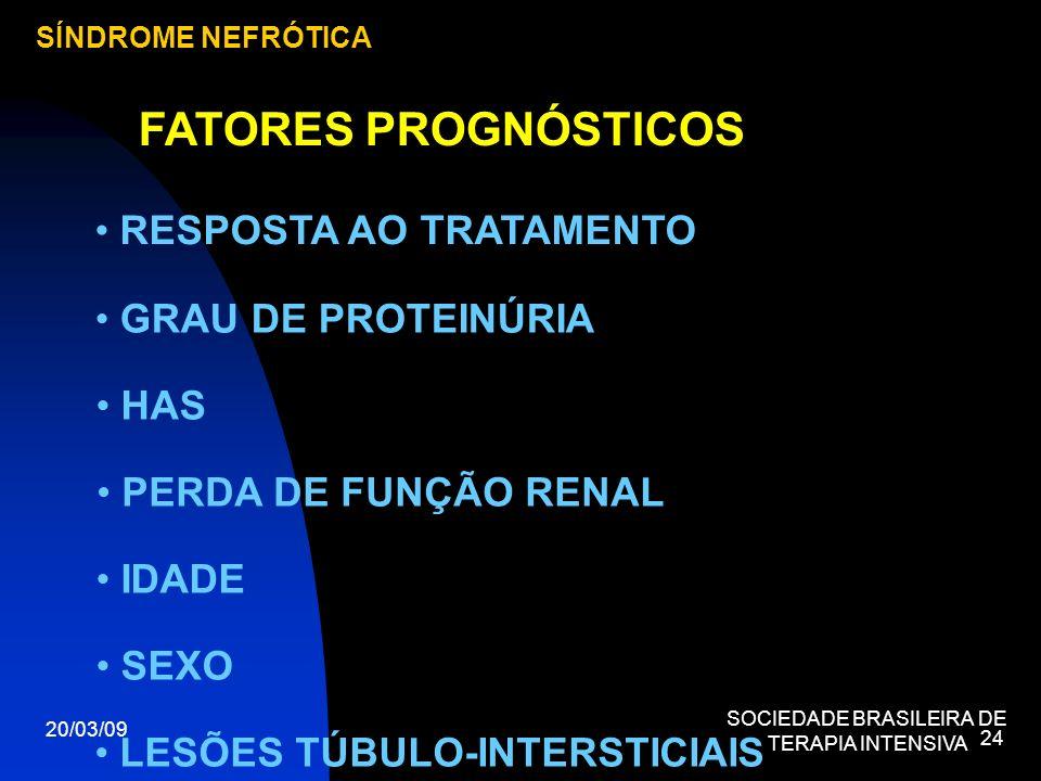 20/03/09 SOCIEDADE BRASILEIRA DE TERAPIA INTENSIVA 24 SÍNDROME NEFRÓTICA FATORES PROGNÓSTICOS LESÕES TÚBULO-INTERSTICIAIS RESPOSTA AO TRATAMENTO GRAU