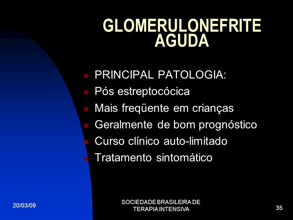 20/03/09 SOCIEDADE BRASILEIRA DE TERAPIA INTENSIVA 35 GLOMERULONEFRITE AGUDA PRINCIPAL PATOLOGIA: Pós estreptocócica Mais freqüente em crianças Geralm