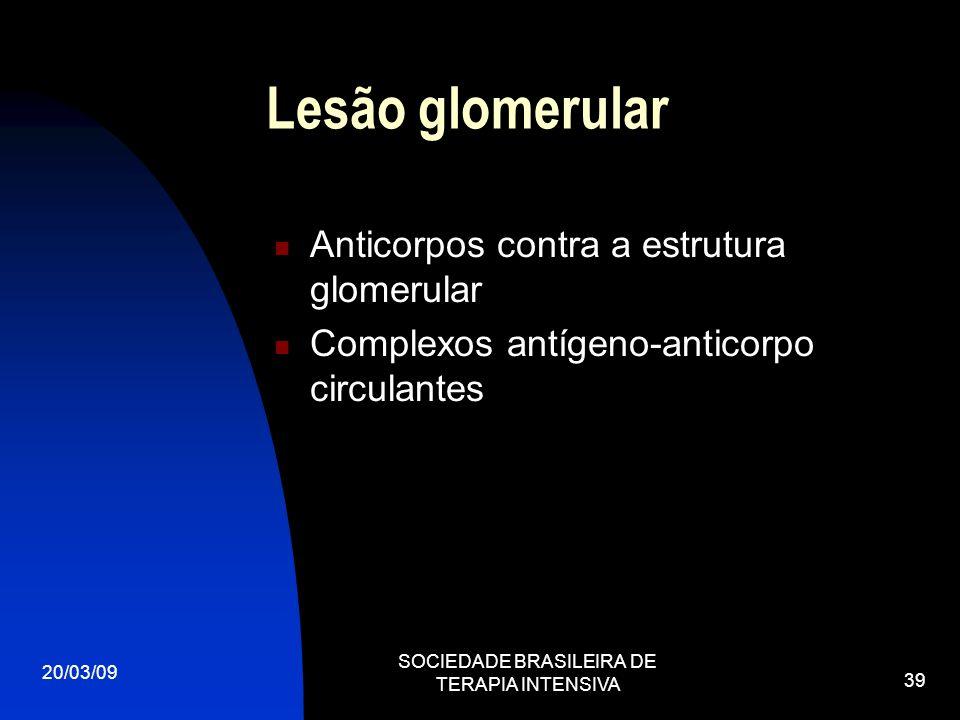 20/03/09 SOCIEDADE BRASILEIRA DE TERAPIA INTENSIVA 39 Lesão glomerular Anticorpos contra a estrutura glomerular Complexos antígeno-anticorpo circulant