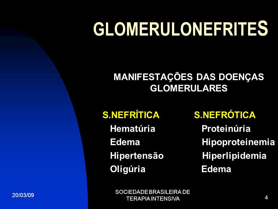 GLOMERULONEFRITE S 20/03/09 SOCIEDADE BRASILEIRA DE TERAPIA INTENSIVA 4 MANIFESTAÇÕES DAS DOENÇAS GLOMERULARES S.NEFRÍTICA S.NEFRÓTICA Hematúria Prote