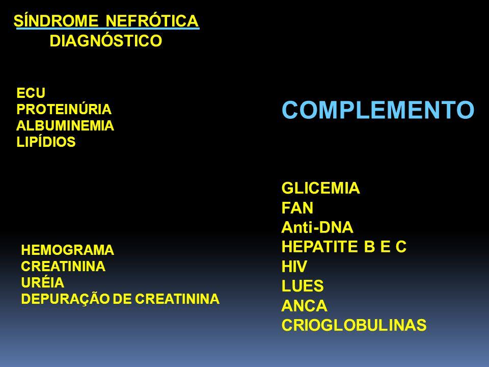 SÍNDROME NEFRÓTICA DIAGNÓSTICO ECU PROTEINÚRIA ALBUMINEMIA LIPÍDIOS COMPLEMENTO GLICEMIA FAN Anti-DNA HEPATITE B E C HIV LUES ANCA CRIOGLOBULINAS HEMO