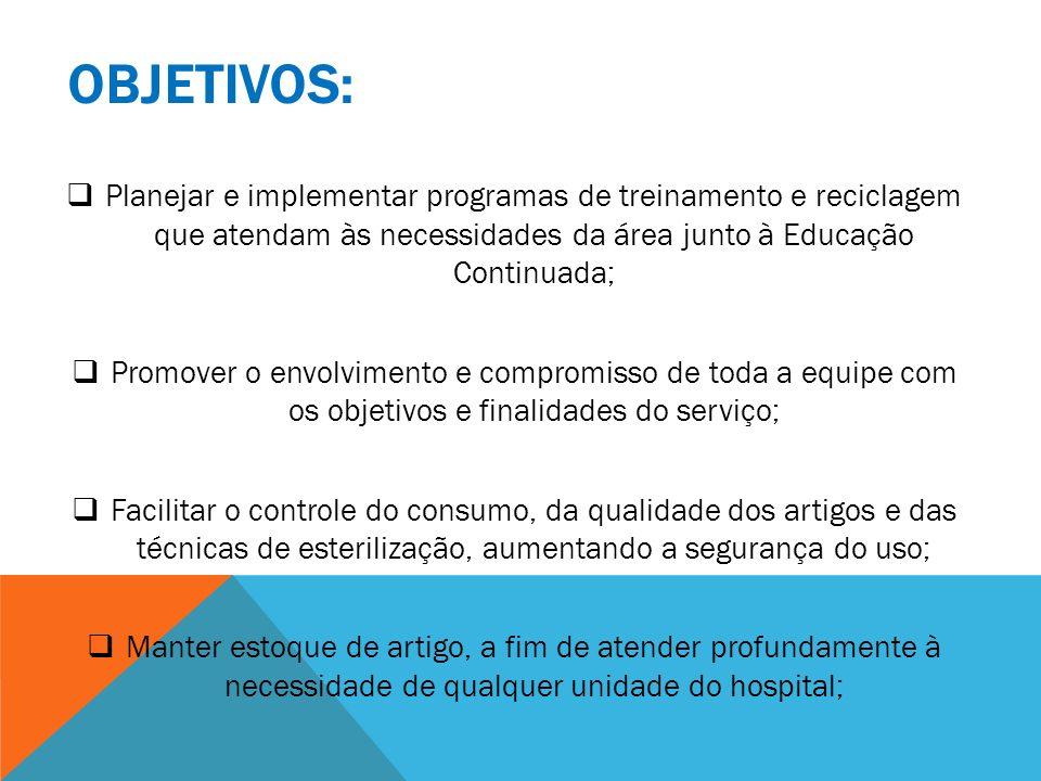 OBJETIVOS: Planejar e implementar programas de treinamento e reciclagem que atendam às necessidades da área junto à Educação Continuada; Promover o en