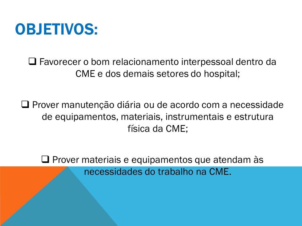 OBJETIVOS: Favorecer o bom relacionamento interpessoal dentro da CME e dos demais setores do hospital; Prover manutenção diária ou de acordo com a nec