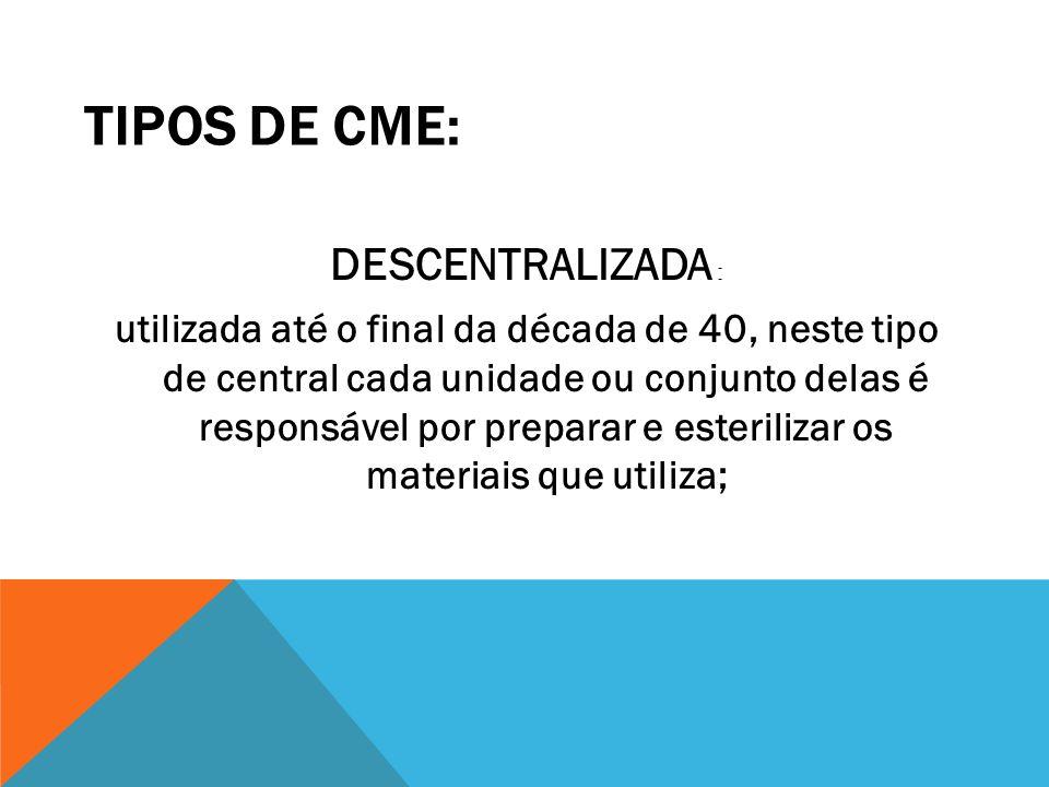 TIPOS DE CME: DESCENTRALIZADA : utilizada até o final da década de 40, neste tipo de central cada unidade ou conjunto delas é responsável por preparar
