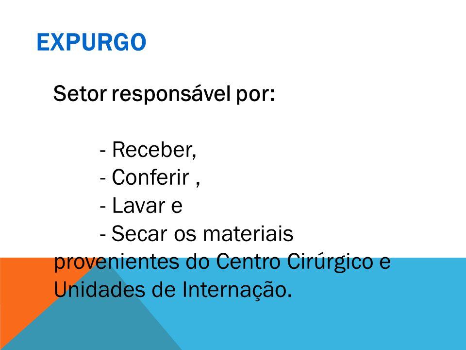 Setor responsável por: - Receber, - Conferir, - Lavar e - Secar os materiais provenientes do Centro Cirúrgico e Unidades de Internação.