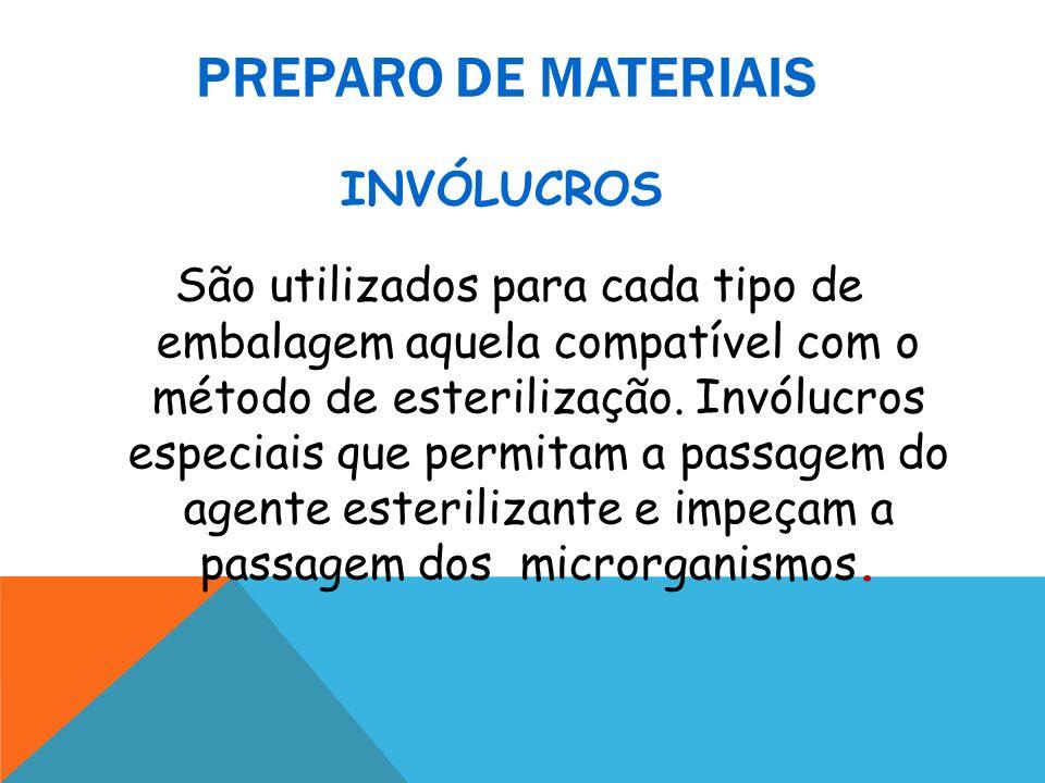 PREPARO DE MATERIAIS São utilizados para cada tipo de embalagem aquela compatível com o método de esterilização. Invólucros especiais que permitam a p