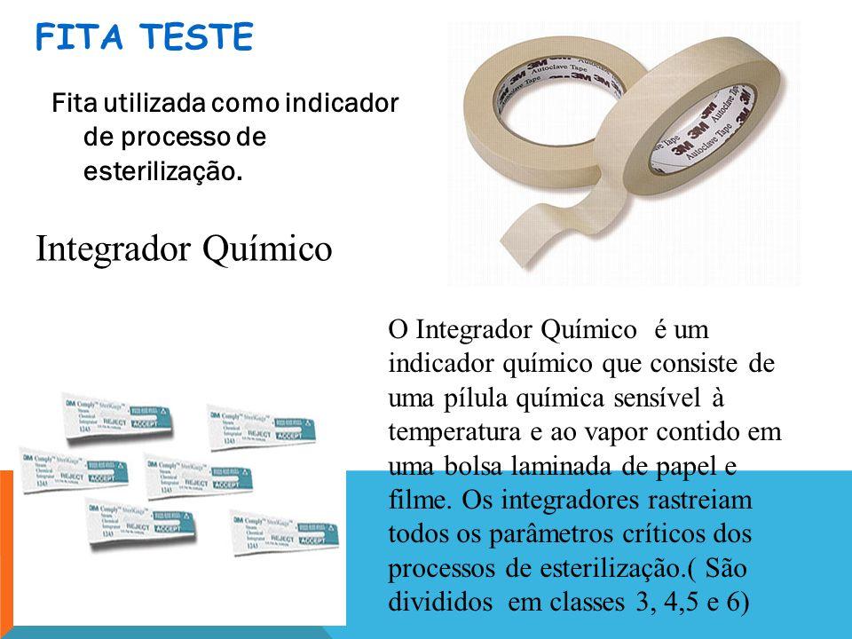 FITA TESTE Fita utilizada como indicador de processo de esterilização. O Integrador Químico é um indicador químico que consiste de uma pílula química