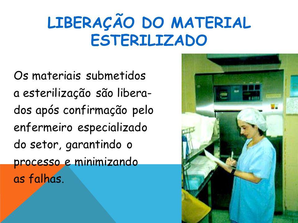 LIBERAÇÃO DO MATERIAL ESTERILIZADO Os materiais submetidos a esterilização são libera- dos após confirmação pelo enfermeiro especializado do setor, ga