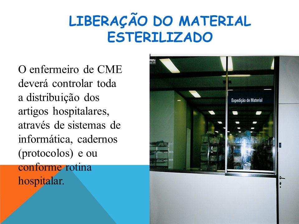 LIBERAÇÃO DO MATERIAL ESTERILIZADO O enfermeiro de CME deverá controlar toda a distribuição dos artigos hospitalares, através de sistemas de informáti