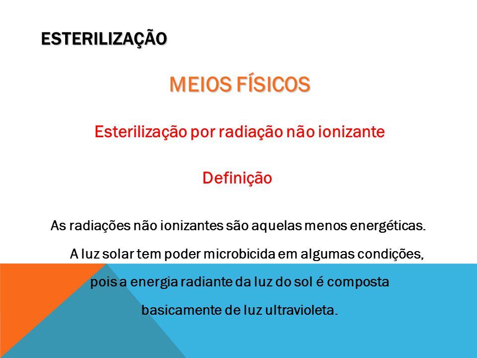 ESTERILIZAÇÃO MEIOS FÍSICOS Esterilização por radiação não ionizante Definição As radiações não ionizantes são aquelas menos energéticas. A luz solar