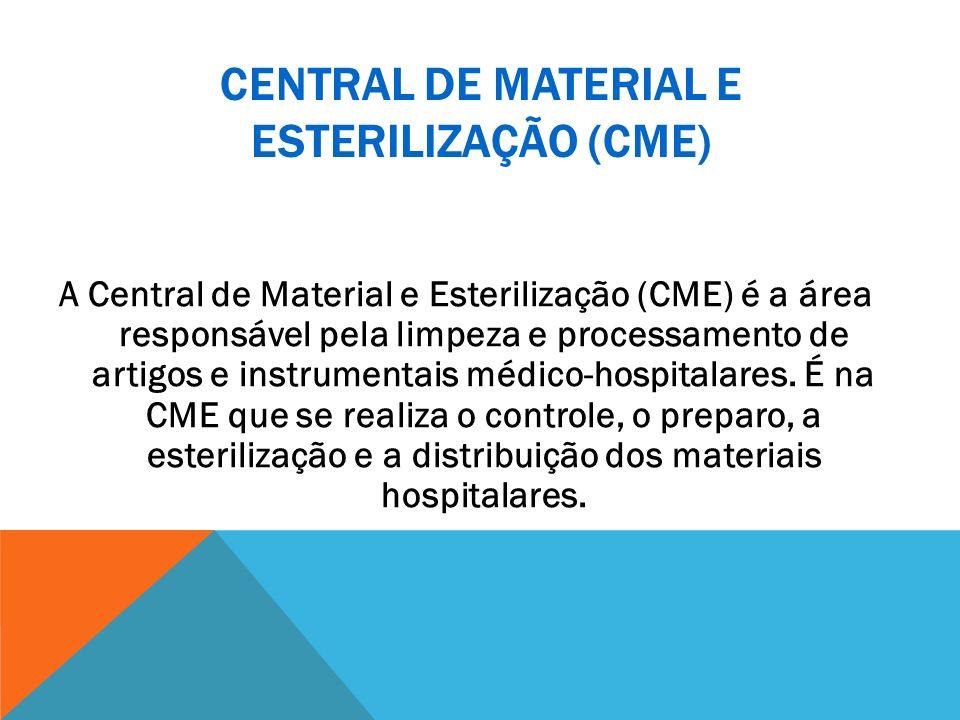 CENTRAL DE MATERIAL E ESTERILIZAÇÃO (CME) A Central de Material e Esterilização (CME) é a área responsável pela limpeza e processamento de artigos e i