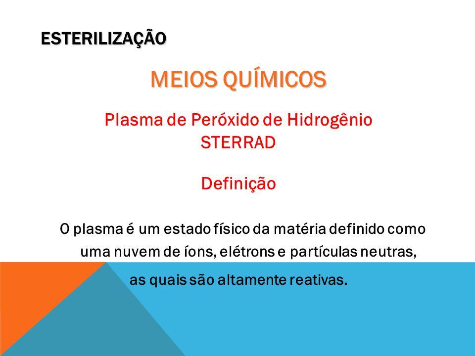 ESTERILIZAÇÃO MEIOS QUÍMICOS Plasma de Peróxido de Hidrogênio STERRAD Definição O plasma é um estado físico da matéria definido como uma nuvem de íons