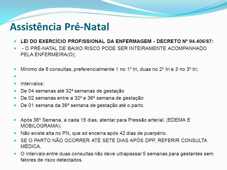 Assistência Pré-Natal LEI DO EXERCÍCIO PROFISSIONAL DA ENFERMAGEM - DECRETO Nº 94.406/87: - O PRÉ-NATAL DE BAIXO RISCO PODE SER INTEIRAMENTE ACOMPANHA
