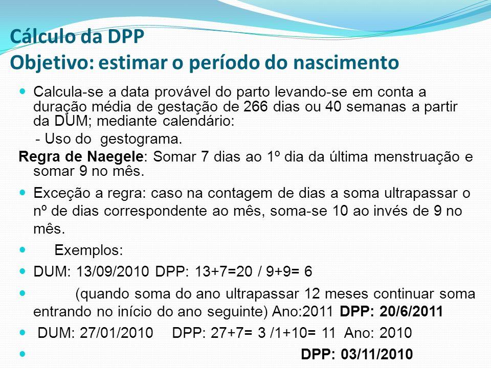 Cálculo da DPP Objetivo: estimar o período do nascimento Calcula-se a data provável do parto levando-se em conta a duração média de gestação de 266 di