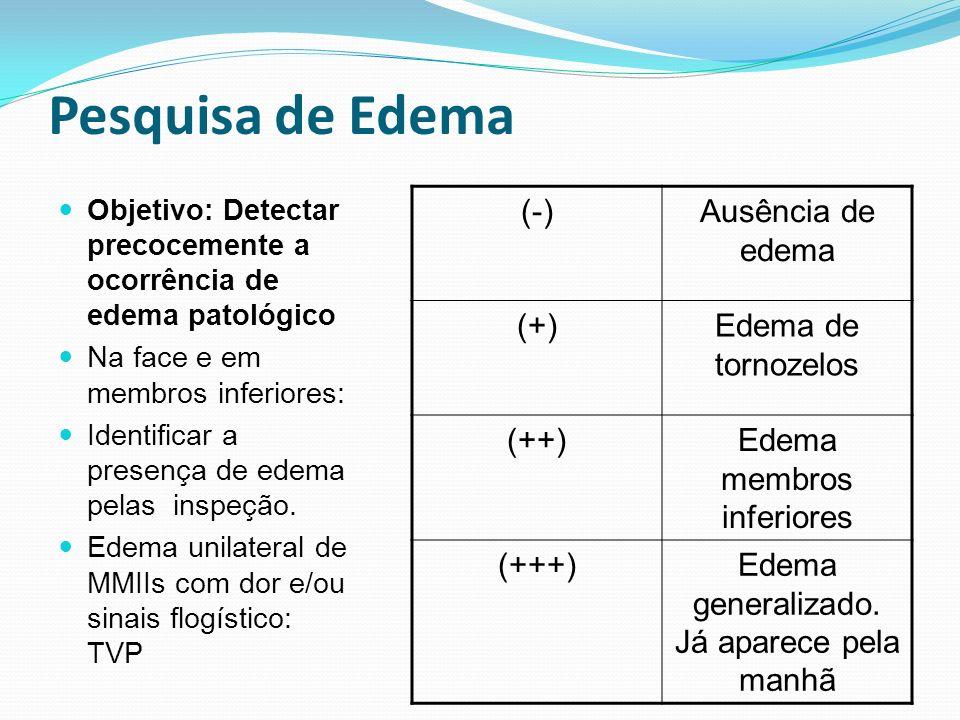 Pesquisa de Edema Objetivo: Detectar precocemente a ocorrência de edema patológico Na face e em membros inferiores: Identificar a presença de edema pe