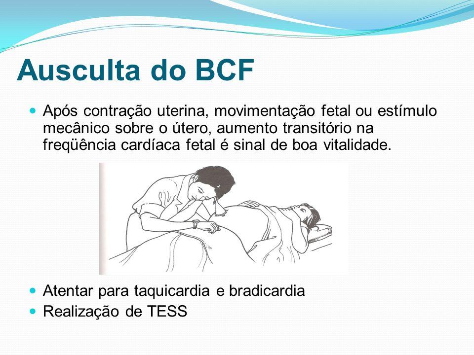 Ausculta do BCF Após contração uterina, movimentação fetal ou estímulo mecânico sobre o útero, aumento transitório na freqüência cardíaca fetal é sina