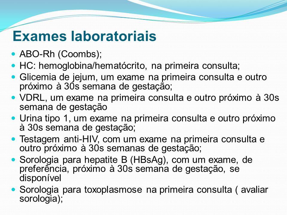 Exames laboratoriais ABO-Rh (Coombs); HC: hemoglobina/hematócrito, na primeira consulta; Glicemia de jejum, um exame na primeira consulta e outro próx