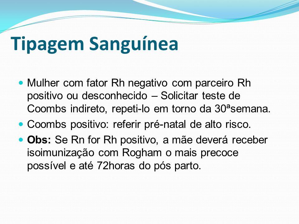 Tipagem Sanguínea Mulher com fator Rh negativo com parceiro Rh positivo ou desconhecido – Solicitar teste de Coombs indireto, repeti-lo em torno da 30