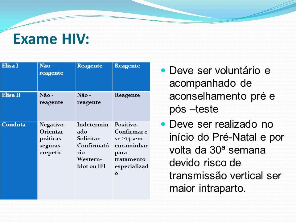 Exame HIV: Elisa I Não - reagente Reagente Reagente Elisa II Não - reagente Não - reagente Reagente Conduta Negativo. Orientar práticas seguras erepet