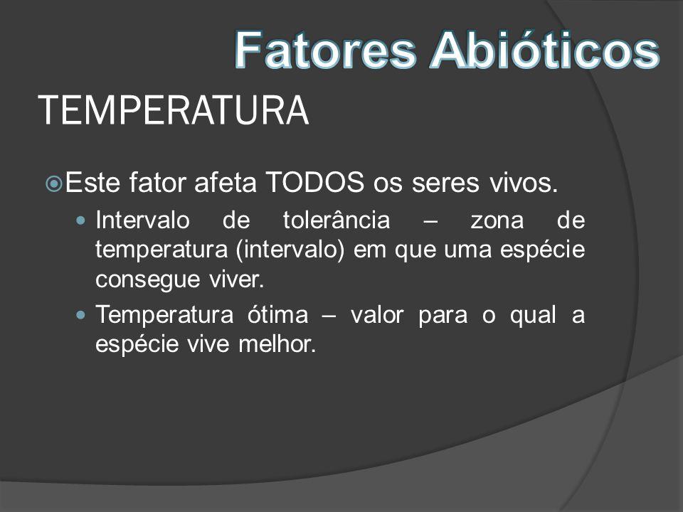 TEMPERATURA Este fator afeta TODOS os seres vivos. Intervalo de tolerância – zona de temperatura (intervalo) em que uma espécie consegue viver. Temper