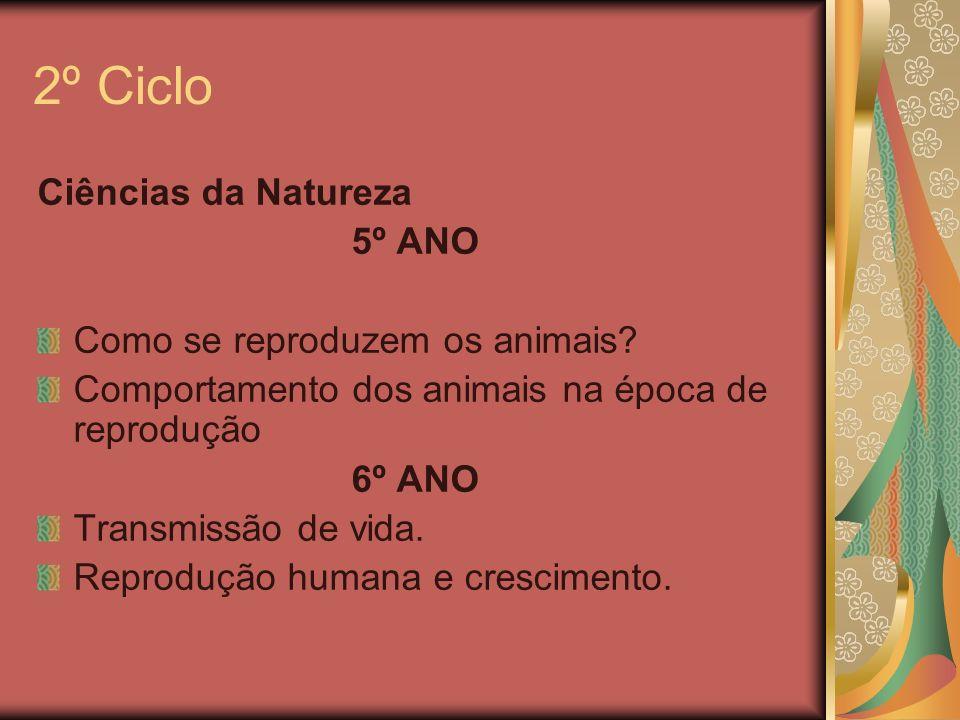 2º Ciclo Ciências da Natureza 5º ANO Como se reproduzem os animais? Comportamento dos animais na época de reprodução 6º ANO Transmissão de vida. Repro
