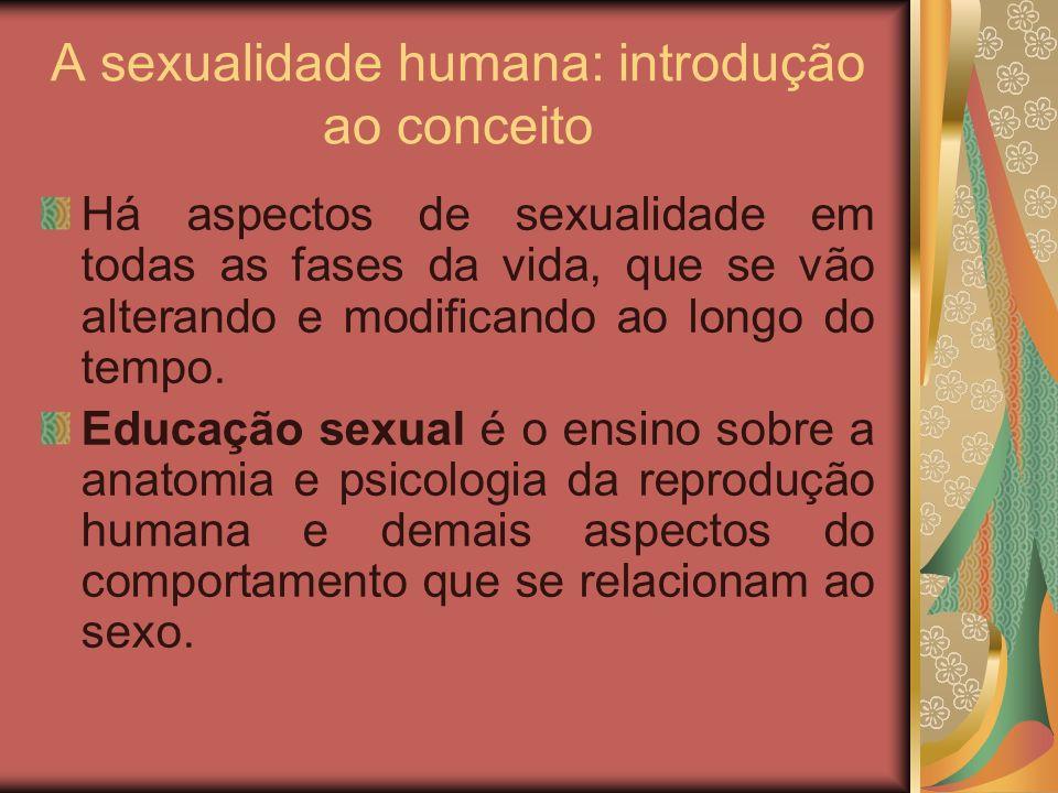 A sexualidade humana: introdução ao conceito Há aspectos de sexualidade em todas as fases da vida, que se vão alterando e modificando ao longo do temp