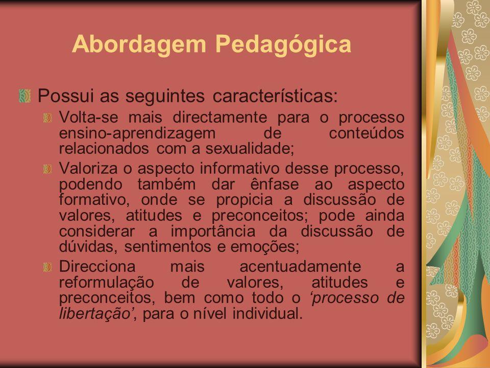 Abordagem Pedagógica Possui as seguintes características: Volta-se mais directamente para o processo ensino-aprendizagem de conteúdos relacionados com