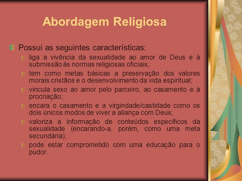 Abordagem Religiosa Possui as seguintes características: liga a vivência da sexualidade ao amor de Deus e à submissão às normas religiosas oficiais; t