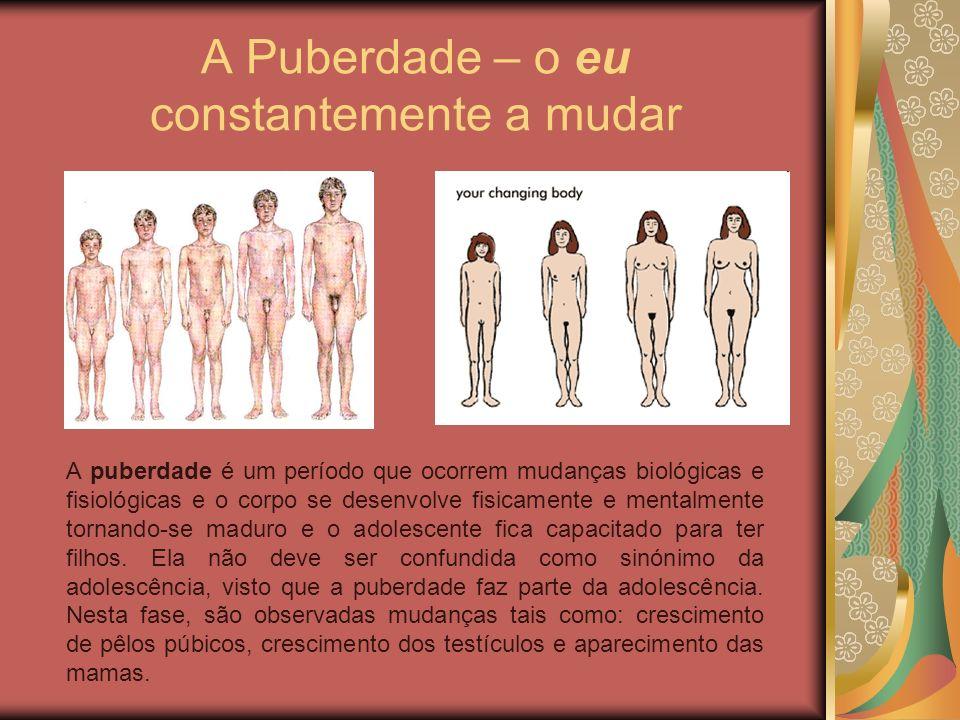 A Puberdade – o eu constantemente a mudar A puberdade é um período que ocorrem mudanças biológicas e fisiológicas e o corpo se desenvolve fisicamente