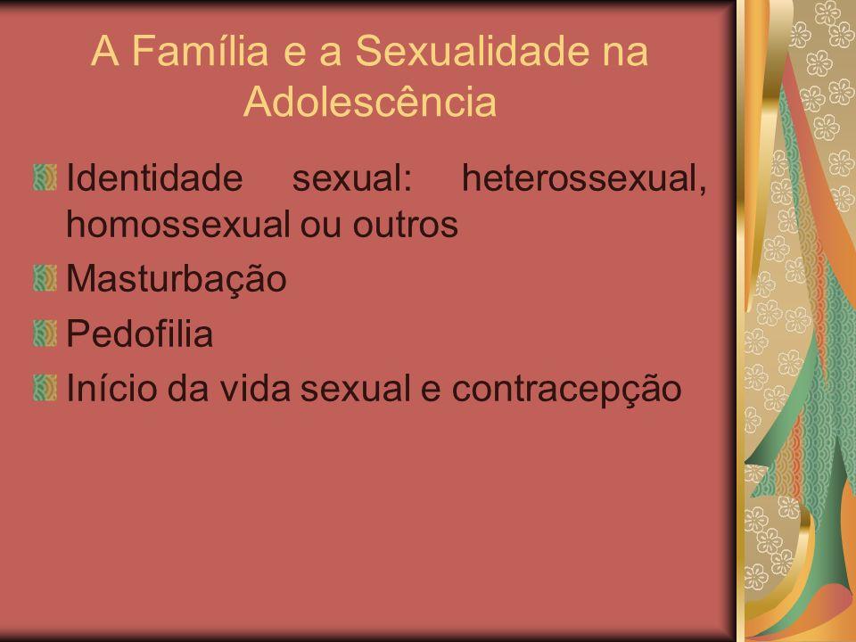 A Família e a Sexualidade na Adolescência Identidade sexual: heterossexual, homossexual ou outros Masturbação Pedofilia Início da vida sexual e contra