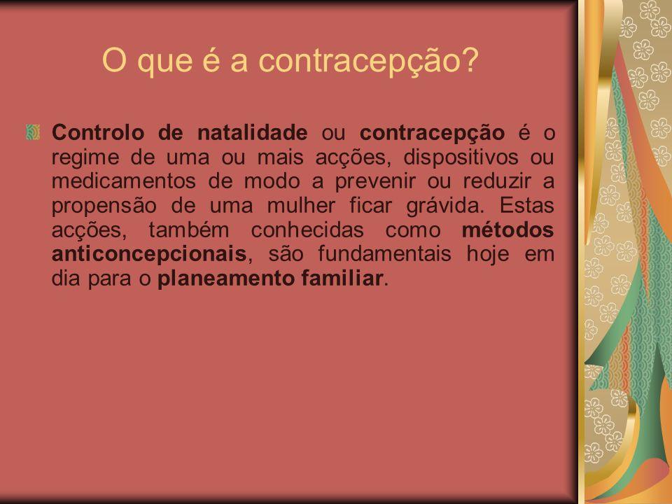 O que é a contracepção? Controlo de natalidade ou contracepção é o regime de uma ou mais acções, dispositivos ou medicamentos de modo a prevenir ou re