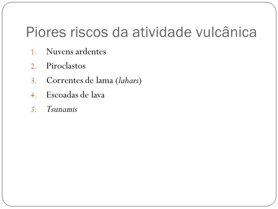 Piores riscos da atividade vulcânica 1. Nuvens ardentes 2. Piroclastos 3. Correntes de lama (lahars) 4. Escoadas de lava 5. Tsunamis
