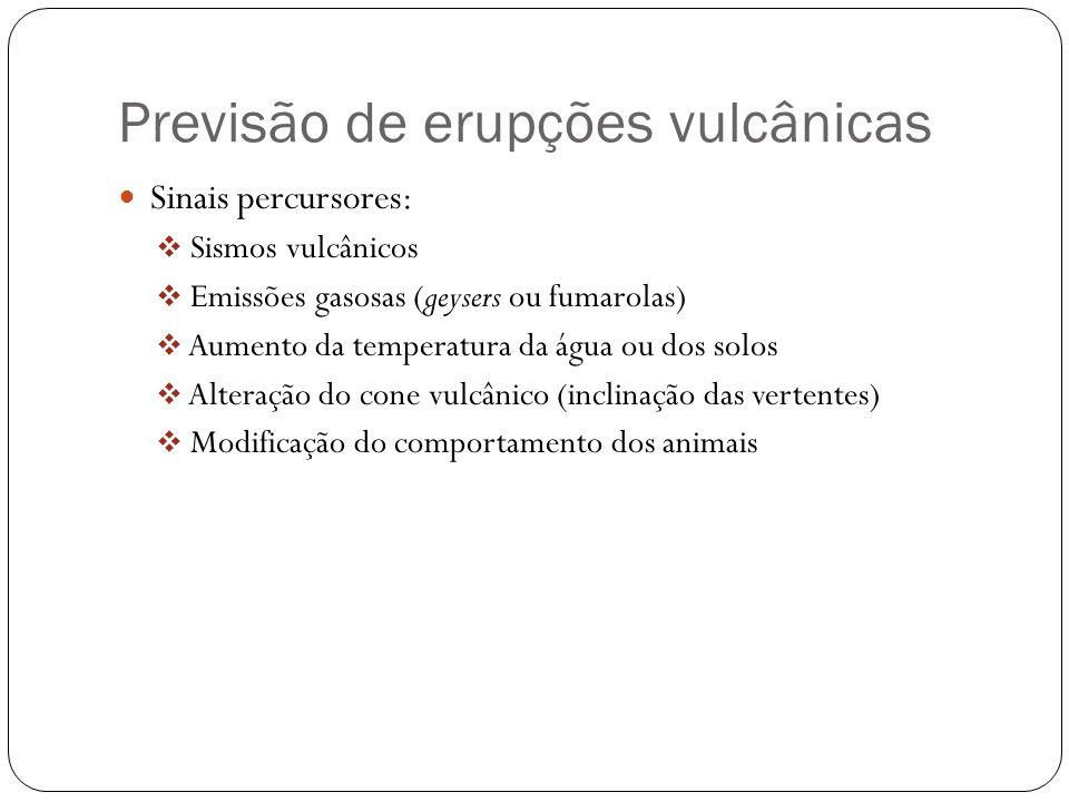 Previsão de erupções vulcânicas Sinais percursores: Sismos vulcânicos Emissões gasosas (geysers ou fumarolas) Aumento da temperatura da água ou dos so