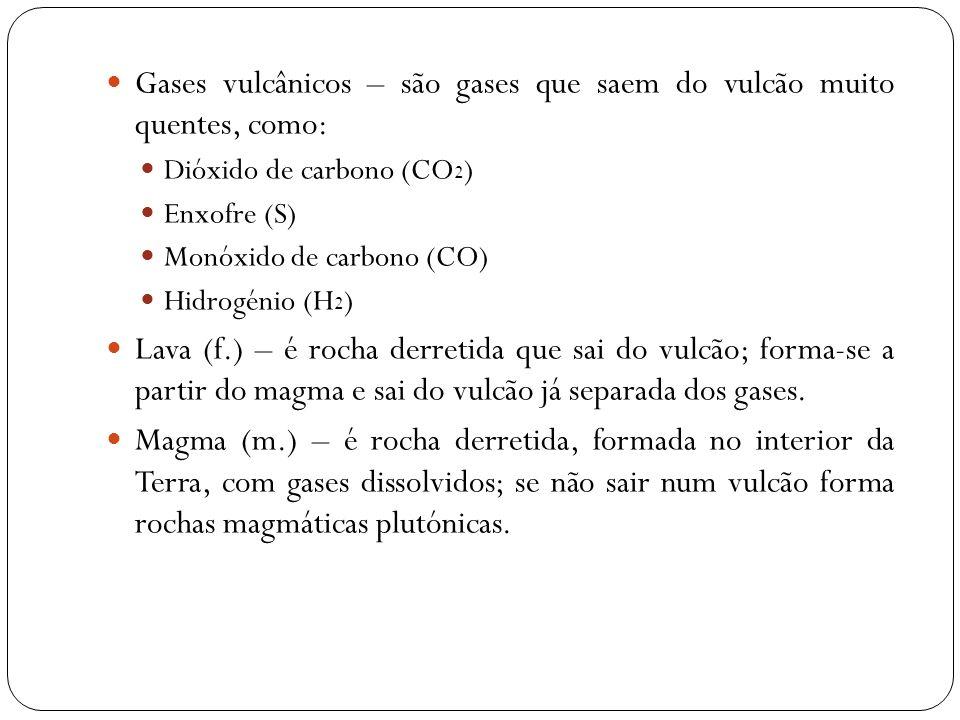 Gases vulcânicos – são gases que saem do vulcão muito quentes, como: Dióxido de carbono (CO 2 ) Enxofre (S) Monóxido de carbono (CO) Hidrogénio (H 2 )