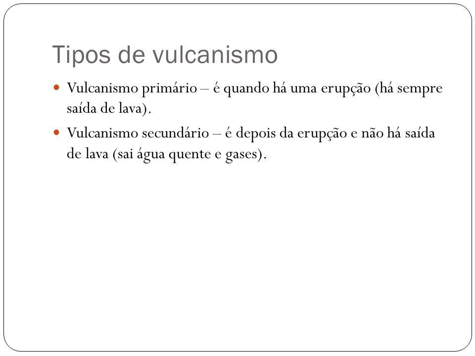 Tipos de vulcanismo Vulcanismo primário – é quando há uma erupção (há sempre saída de lava). Vulcanismo secundário – é depois da erupção e não há saíd