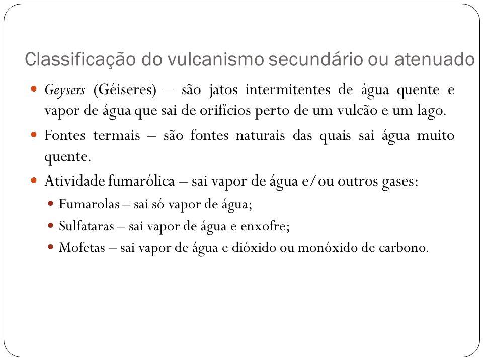 Classificação do vulcanismo secundário ou atenuado Geysers (Géiseres) – são jatos intermitentes de água quente e vapor de água que sai de orifícios pe
