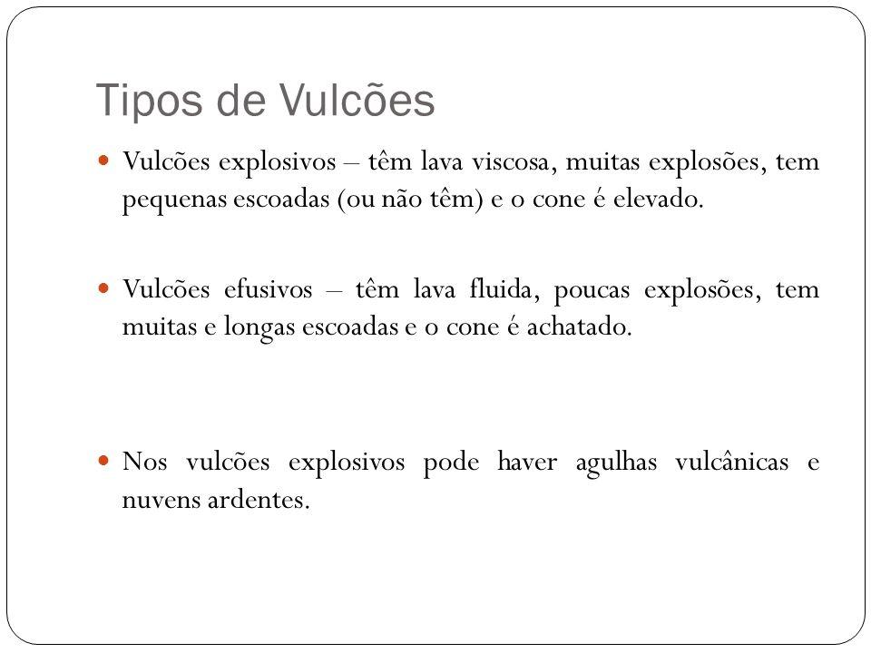 Tipos de Vulcões Vulcões explosivos – têm lava viscosa, muitas explosões, tem pequenas escoadas (ou não têm) e o cone é elevado. Vulcões efusivos – tê