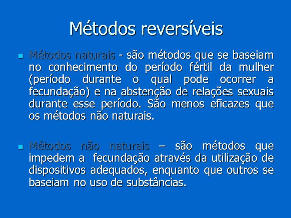 Métodos naturais - são métodos que se baseiam no conhecimento do período fértil da mulher (período durante o qual pode ocorrer a fecundação) e na abst