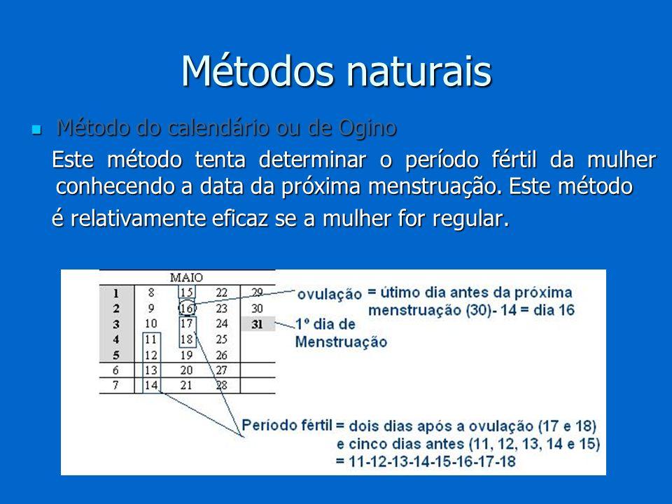 Método do calendário ou de Ogino Método do calendário ou de Ogino Este método tenta determinar o período fértil da mulher conhecendo a data da próxima
