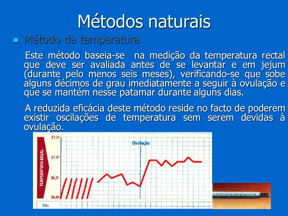 Métodos naturais Método da temperatura Método da temperatura Este método baseia-se na medição da temperatura rectal que deve ser avaliada antes de se