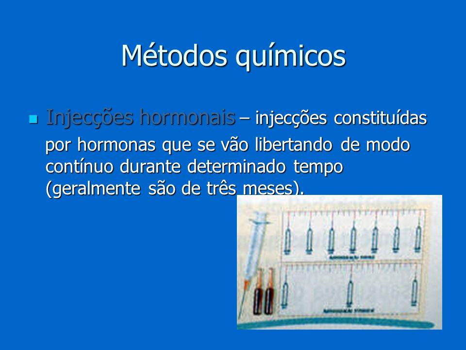 Métodos químicos Injecções hormonais – injecções constituídas Injecções hormonais – injecções constituídas por hormonas que se vão libertando de modo