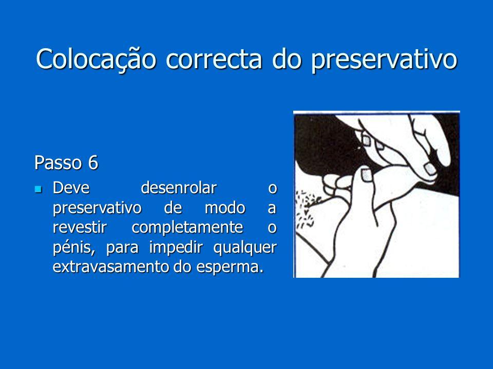 Colocação correcta do preservativo Passo 6 Deve desenrolar o preservativo de modo a revestir completamente o pénis, para impedir qualquer extravasamen