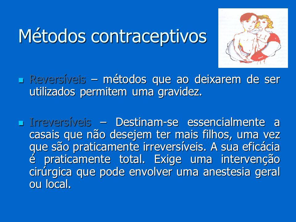 Reversíveis – métodos que ao deixarem de ser utilizados permitem uma gravidez. Reversíveis – métodos que ao deixarem de ser utilizados permitem uma gr